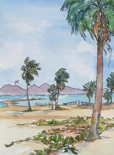 Artículos similares a La Playa The Beach - Small Print of Watercolor Palms, Islands, Sea, Sand, Surf. Watercolor Landscape, Watercolor And Ink, Watercolor Paintings, Original Paintings, Sea Birds, Urban Sketching, Large Prints, Surfing, Sketches
