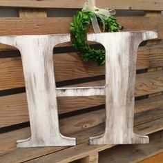 Wedding Guest Book Big Wooden Letter H Distressed edges, Capital Alphabet, Hand Painted Custom Wedding Letter, Family Sign, Initial Monogram by ASimplePlaceOnMain on Etsy