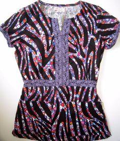 Koi Kimberly Scrub Top 160PR Size XS Black Purple Zebra Floral Medical Nursing | eBay