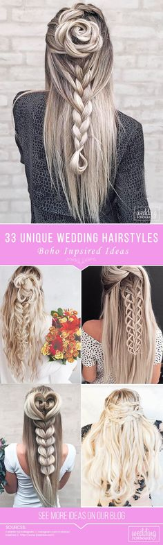 33 Creative & Unique Wedding Hairstyles ❤️ From creative hairstyles with romantic, loose curls to formal wedding updos, these unique wedding hairstyles would work great either for your ceremony or for your reception. See more: http://www.weddingforward.com/creative-unique-wedding-hairstyles/
