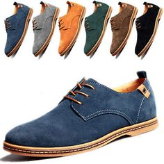 Men's Suede Leather Shoes Oxfords Formal Dress Business Casual Flats Loafers