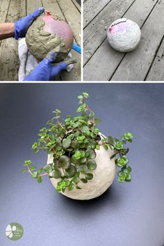 How to make really cool round ball shaped planters with cement, using balloons. This is an easy detailed video tutorial for making a DIY cement balloon planter. Cement Art, Concrete Crafts, Concrete Projects, Concrete Garden, Concrete Furniture, Urban Furniture, Diy Home Crafts, Garden Crafts, Garden Projects