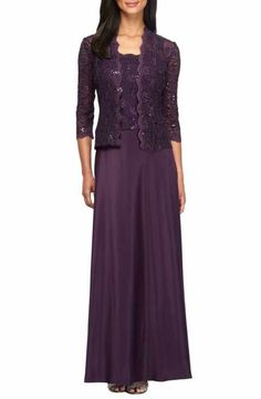 Main Image - Alex Evenings Sequin Lace & Satin Gown with Jacket (Regular & Petite) Gown With Jacket, Dress With Cardigan, Jacket Dress, Jacket Style, Mother Of Groom Dresses, Mothers Dresses, Mother Of The Bride, Bride Dresses, Mob Dresses