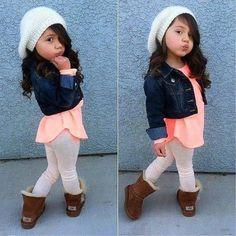 peach/coral shirt, crop jean jacket, white leggings, brown uggs, white beanie