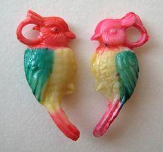 1940s VINTAGE Celluloid Tropical LOVE BIRD Charms Cracker Jack Toy Prize | eBay