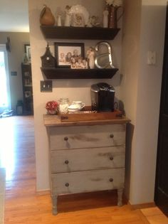 Coffee station for master. IKEA Hackers: TARVA coffee station just add home depot legs to a hemnes ikea dresser Coffee Nook, Coffee Bars, Coffee Corner, House Coffee, Home Coffee Stations, Ikea Hackers, Dresser As Nightstand, Small Dresser, Dresser In Kitchen