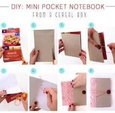 DIY mini pocket notebook-Out of a cereal box!