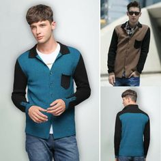 Men's Single Breasted Turndown Collar Pocket Knitwear Sweater via martEnvy. Click on the image to see more!