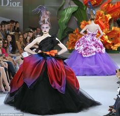 Heavy petal: Full-skirted dresses had layers of with layers of degradé petals and ruffles, making them look like upturned flowers