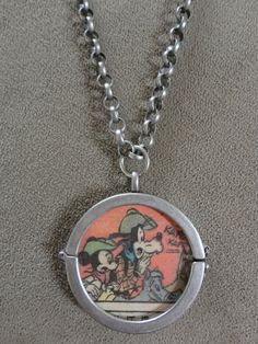 Rare Vintage Mickey Mouse & Goofy 1975 Comic Book Pendant with Chain (reversible locket)