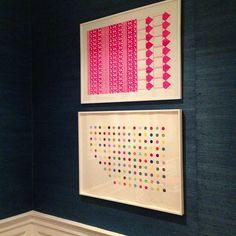 Art finally up! #art #installation #navy #grassclothwallpaper #pattern #pink #dots #jessicabuckleyinteriors #interiors #interiordesign
