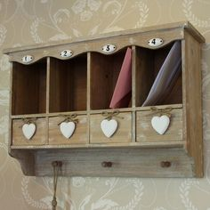 Overhead Storage Unit with Pigeon Holes, Drawers and Hooks
