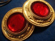 Estate earrings vintage red gold