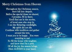 Merry Christmas from  your loved ones in Heaven.  Mom's first Christmas in Heaven! Missing Mom...