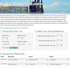 This thing is awesome. Disney Dining Plan Calculator - Save money eating at Walt Disney World!
