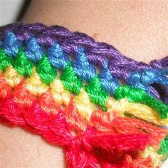 A great beginning crocheter project.  Rainbow Bracelet - Crochet Me