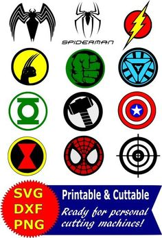 Superhero logo SVG and Clipart bundle for Silhouette Cameo or Cricut Superhero Vector, Clipart, Digital Scrapbooking Download, Available in PNG, DXF and SVG. Works with Cricut, Design Space, Sure Cuts A Lot, Make the Cut!, Inkscape, CorelDraw, Adobe Illustrator, Silhouette Cameo, Brother ScanNCut and other compatible software. Spiderman, Captain America, Hulk, Wolverine, Green Lantern, Ironman, Flash, Black Widow: