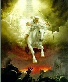 White Horse, Jesus Christ -- his 'parousia' (presence) as King since his actual coming at Armageddon, God's war against Satan and all unrighteousness. led by Jesus himself. Archangels, Jesus Art, Prophetic Art, Painting, Bible Art, Art, Pictures Of Jesus Christ, Pictures