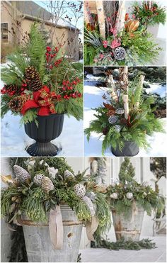 Beautiful winter planter ideas for your outdoor Christmas decorations. These ver… Beautiful winter planter ideas for your outdoor Christmas decorations. These versatile winter planters can. Outdoor Christmas Planters, Christmas Urns, Outside Christmas Decorations, Farmhouse Christmas Decor, Christmas Home, Christmas Holidays, Christmas Porch Ideas, Decorating For Christmas Outdoors, Winter Decorations
