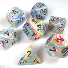 Chessex Dice Poly - Festive Vibrant w/ Brown - Set of 7 - 27441 Free Bag! DnD