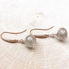 Delicious plump rutilated quartz drop earrings... yum! 14k rose gold ear wires...