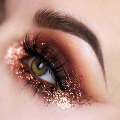 Copper eye makeup look with glitter! #warm colors #eye looks