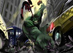 Hulk Vs. Spidey By: Curcuru.