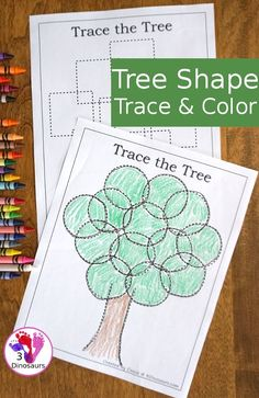 Fine Motor Work With: Tree Shape Trace and Color Preschool Learning Activities, Free Preschool, Preschool Printables, Preschool Kindergarten, Preschool Worksheets, Preschool Activities, Preschool Shapes, Shape Activities, Homeschooling Resources