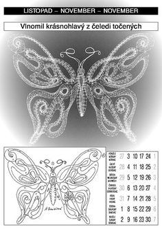 календарь 2003 Bobbin Lace, Hand Embroidery, November, Butterfly, Tapestry, Tattoos, Interiors, Bruges, Needle Tatting Patterns