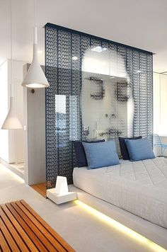 Glass wall to separate bed and shower | Paros Agnanti Hotel