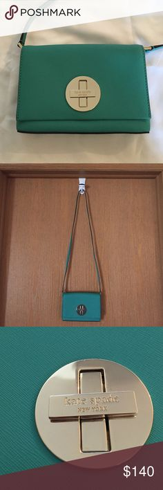 Kate spade teal/blue crossbody bag Used once for about an hour. Teal/blue Kate spade cross body bag. There are some very small scratches on the hardware as shown in the close up picture. kate spade Bags Crossbody Bags