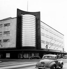 La Brea and Wilshire - 1947 - old May Company building.  Now LACMA. Los Angeles.
