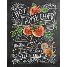 Fall Apple Cider Illustration Print - Autumn Decor - Thanksgiving Decor- Chalkboard Art - Hand Drawn Art