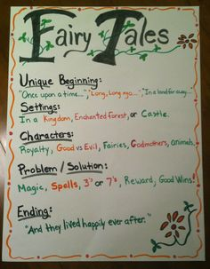 My Anchor Chart for Fairy Tale Unit.