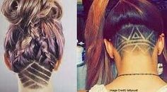 Secret Undercut Tattoos Are the Newest Hair Trend - Dorothy Martinez Shaved Undercut, Undercut Long Hair, Undercut Hairstyles, Cool Hairstyles, Long Hair Designs, Shaved Hair Designs, Hair Tattoos, Undercut Tattoos, Undercut Hair Designs
