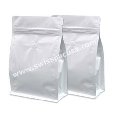 8 OZ SHINY WHITE BLOCK / FLAT BOTTOM BAG WITH ZIPPER AND VALVE. Visit us at https://www.swisspacusa.com/products-page/block-bottom-bags-with-valve/8-oz-shiny-white-block-flat-bottom-bag-with-zipper-and-valve
