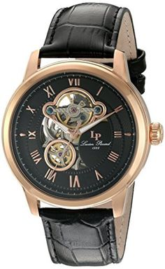 Lucien Piccard Men's 'Optima' Stainless Steel and Leather Automatic Watch, Color:Black (Model: LP-12524-RG-01) by Lucien Piccard -- Awesome products selected by Anna Churchill