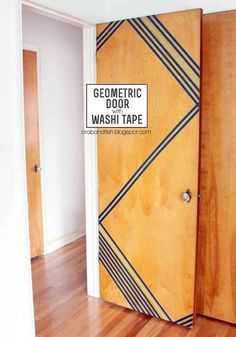 DIY Dorm Room Decor Ideas - Washi Tape Geometric Door - Cheap DIY Dorm Decor Projects for College Rooms - Cool Crafts, Wall Art, Easy Organization for Girls - Fun DYI Tutorials for Teens and College Students http://diyprojectsforteens.com/diy-dorm-room-decor