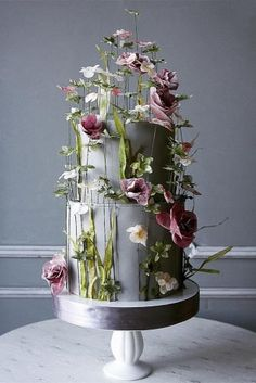 15 Wedding Cake Ideas That'll Wow Your Guests wedding cake ideas photos gallery pink and white flowers blooms on grey cake elena_gnut_cake Black Wedding Cakes, Floral Wedding Cakes, Beautiful Wedding Cakes, Wedding Cake Designs, Beautiful Cakes, Floral Cake, Wedding Flowers, Wedding Cake Centerpieces, Wedding Cupcakes