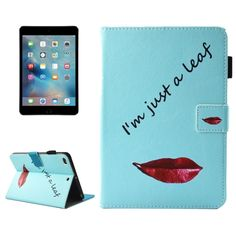 [$4.02] For iPad mini 4 / 3 / 2 / 1 Lips and Leaves Pattern Horizontal Flip Leather Case with Holder & Wallet & Card Slots & Sleep / Wake-up Function & Pen Slot