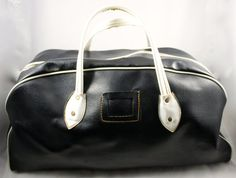 Vintage Black and White VISITORS BAG Awesome by LuckySevenVintage, $40.00