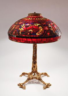 "Tiffany Studios, New York, Favrile Leaded Glass and Patinated Bronze ""Salamander"" Lamp."