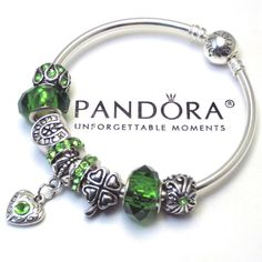 Authentic Pandora BANGLE or BARREL Bracelet Green Irish Heart Charm Murano Beads #Pandora