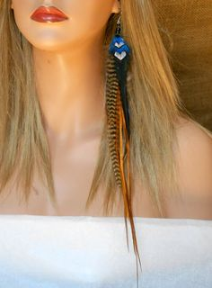 Long feather earings from etsy