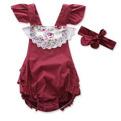 Girls Fly Sleeve Romper In Floral Print Cute Newborn Baby Clothes, Baby Outfits Newborn, Ruffle Romper, Floral Romper, Korean Fashion Street Casual, Cheap Online Shopping, Summer Baby, Manga, Rompers