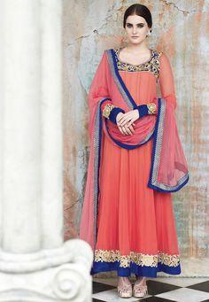 Peach Faux Georgette Abaya Style Churidar Kameez Online Shopping: KWY693