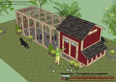 L102 - Chicken Coop Plans Construction - Chicken Coop Design - How To Build A Chicken Coop  It can comfortably hold 25 - 30 chickens  ...  U...
