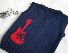 Children hand knitted wool vest, Knitted Baby Toddler Vest, Boy navy vest with red guitar, Tank top Blue and red Hand knitted toddler vest with guitar print embroidery. Made from soft and light weight Baby Wool and acryl. How To Start Knitting, Knitting For Kids, Baby Knitting, Knitting Ideas, Knitting Patterns, Beige Vests, Navy Vest, Toddler Vest, Knit Patterns
