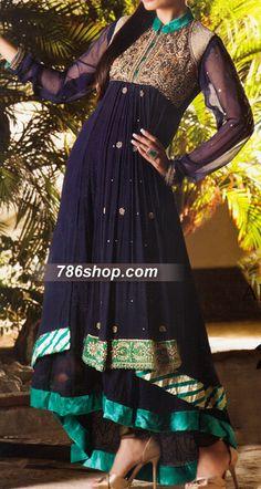 Navy Blue Crinkle Chiffon Suit | 786Shop.com | Pakistani Indian Dresses.