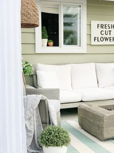 Adding Outdoor Curtains to Finish your Backyard Space - Dreaming of Homemaking Outdoor Curtain Rods, Outdoor Curtains, Outdoor Sofa, Outdoor Spaces, Outdoor Living, Outdoor Decor, Cottage Style Homes, Small Patio, Homemaking